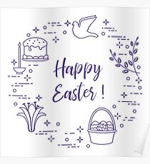 Easter cake, willow, lily,candle,dove,basket,eggs. Poster