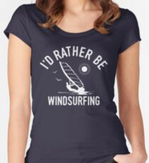 Time Is Precious Windsurfing Windsurfer T-Shirt - Cool Funny Nerdy Humor Statement Graphic Image Quote Tee Shirt Gift Women's Fitted Scoop T-Shirt