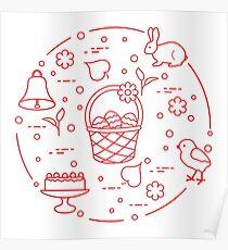 Easter. Simnel cake, basket, eggs, bell, chick. Poster