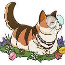 Chill Katze auf Blumen von Jujibla