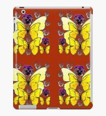 RUSTY COLOR PURPLE PANSY FLOWERS & YELLOW BUTTERFLIES iPad Case/Skin