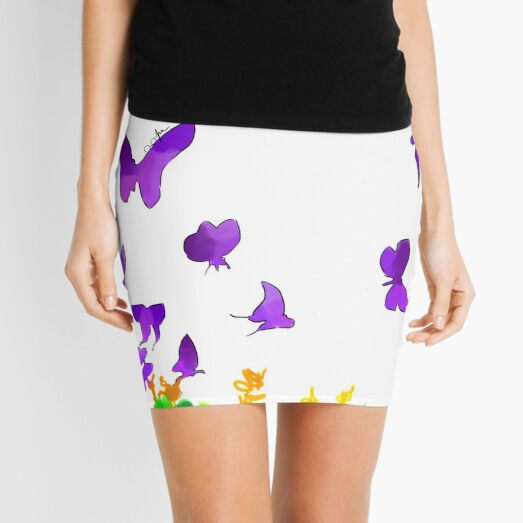 Purple Butterflies Mini Skirt