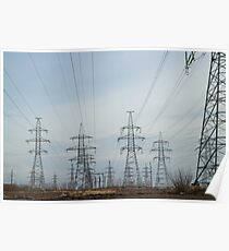 a lot High voltage power lines Poster