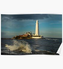 The light house at the golden hour. Poster