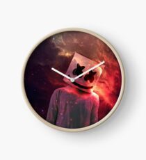 Marshmello Red Galaxy Clock