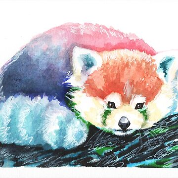 Rainbow Red Panda, Watercolor Painting  by fugitiverabbit