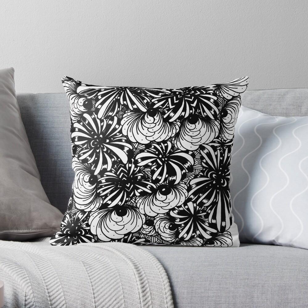 Zentangle Starfish-Fireworks-Engulfing-Petals Throw Pillow