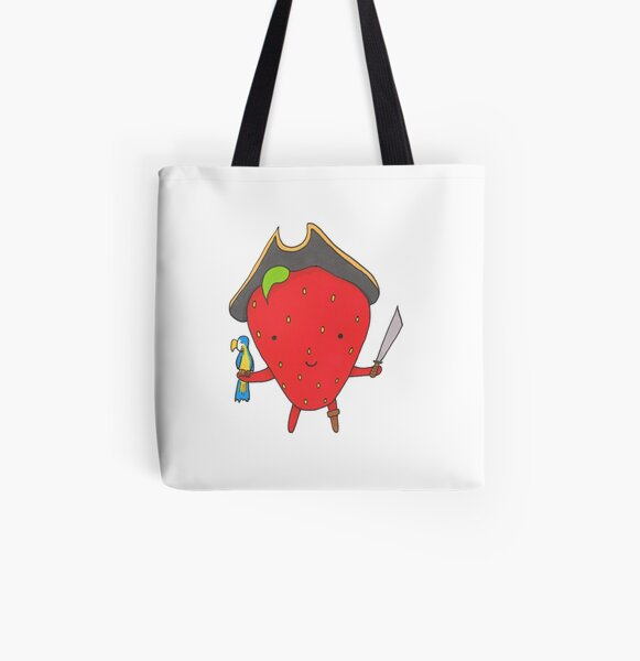 Pirate Strawberry and his Parrot All Over Print Tote Bag
