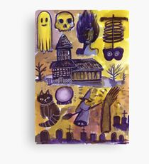 haunted house horror pattern  Canvas Print