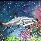Space Thresher Shark, Watercolor Galaxy Painting by fugitiverabbit