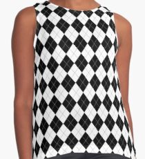 Black and White Argyle Pattern Contrast Tank