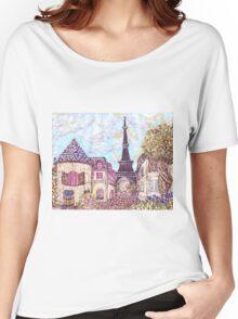 Paris Eiffel Tower inspired pointillism landscape by Kristie Hubler Women's Relaxed Fit T-Shirt