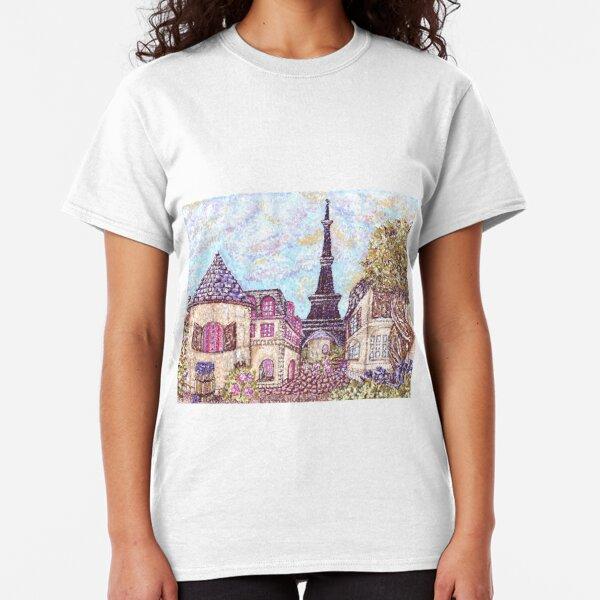Paris Eiffel Tower inspired pointillism landscape by Kristie Hubler Classic T-Shirt