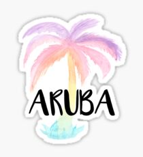 Aruba Watercolor Palm Tree Tropical Calligraphy Design Sticker