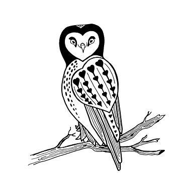 Tattoo Style Primitive Heart Owl Graphic by jocelynsart