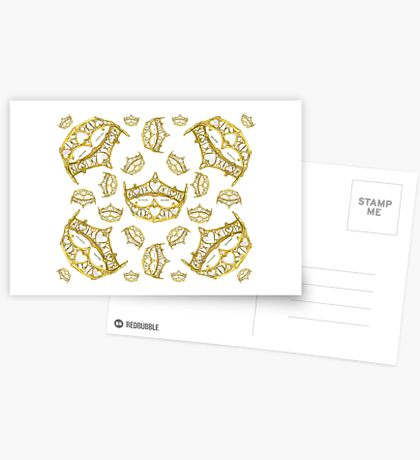 Queen of Hearts gold crown tiara tossed about by Kristie Hubler Postcards