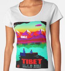 TIBET : Vintage 1911 Travel by Airship Advertising Print Women's Premium T-Shirt