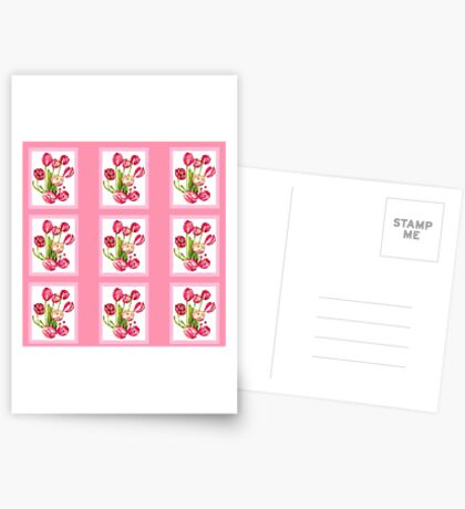 9 bunches of Pink Tulip Flowers by Kristie Hubler Postcards