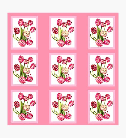 9 bunches of Pink Tulip Flowers by Kristie Hubler Photographic Print