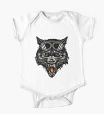 Angry Wolf Head Wearing A Goggle One Piece - Short Sleeve