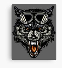 Angry Wolf Head Wearing A Goggle Canvas Print