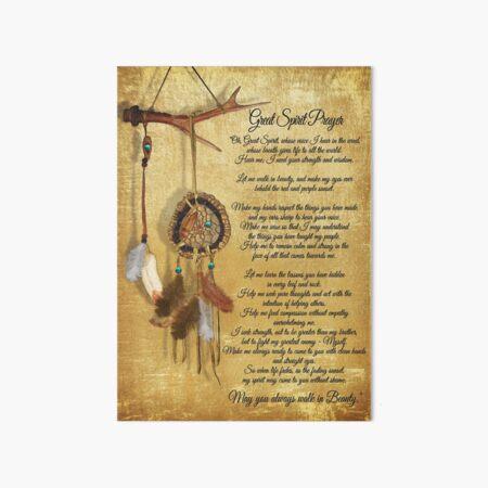 Native American Great spirit Prayer Art Board Print