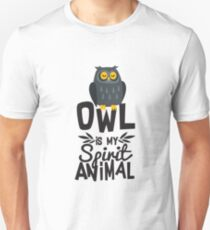 Cute Owl Is My Spirit Animal Funny Quote T Shirt Unisex T-Shirt