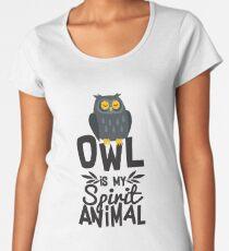 Cute Owl Is My Spirit Animal Funny Quote T Shirt Women's Premium T-Shirt