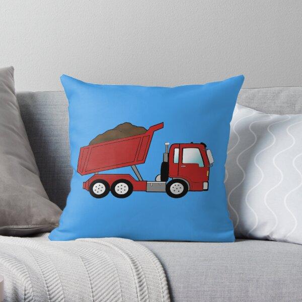 Red Construction Dump Truck Throw Pillow