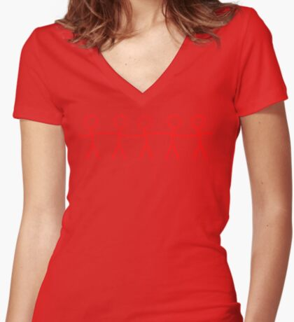 #WalkInRed People Chain Women's Fitted V-Neck T-Shirt