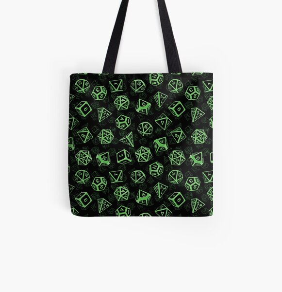 D20 Dice Set Pattern (Green) All Over Print Tote Bag