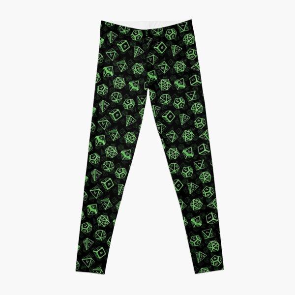 D20 Dice Set Pattern (Green) Leggings