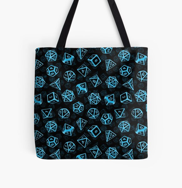 D20 Dice Set Pattern (Blue) All Over Print Tote Bag