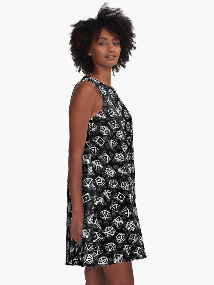 Alternate view of D20 Dice Set Pattern (White) A-Line Dress