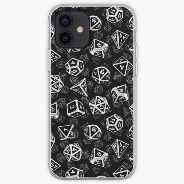 D20 Dice Set Pattern (White) iPhone Soft Case