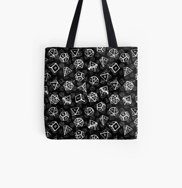 D20 Dice Set Pattern (White) All Over Print Tote Bag