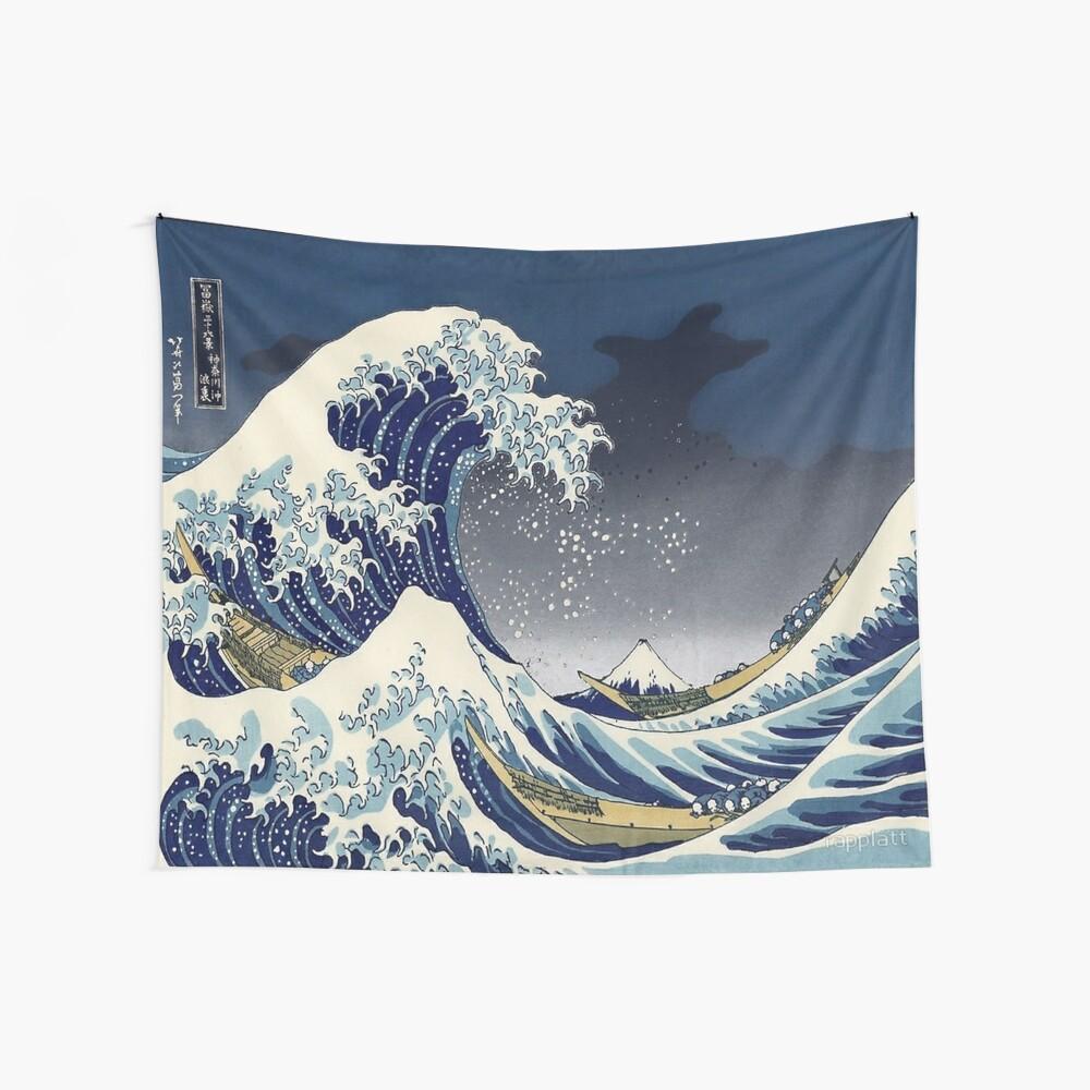 BLAU Die große Welle Wandbehang