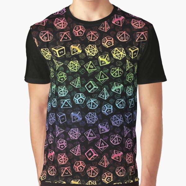 D20 Dice Set Pattern (Rainbow) Graphic T-Shirt