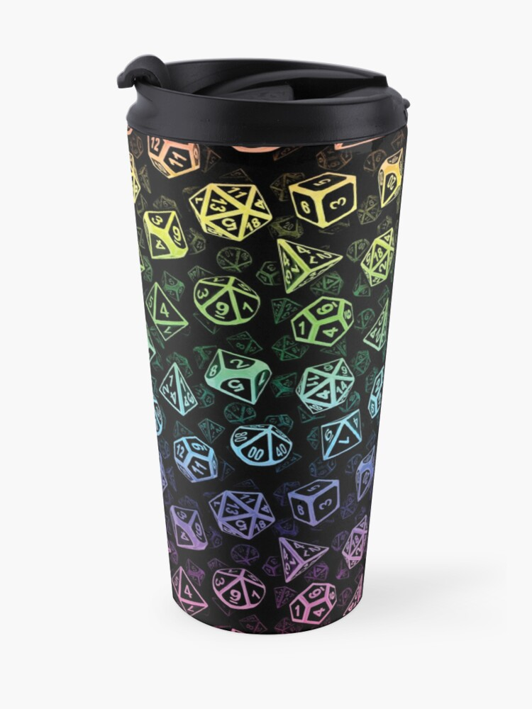 Alternate view of D20 Dice Set Pattern (Rainbow) Travel Mug