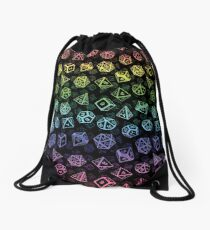 D20 Dice Set Pattern (Rainbow) Drawstring Bag