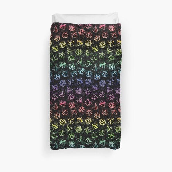 D20 Dice Set Pattern (Rainbow) Duvet Cover