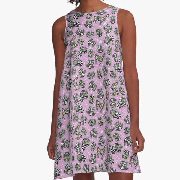 Tiere Zuckerschädel A-Linien Kleid