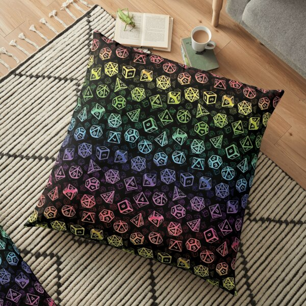 D20 Dice Set Pattern (Rainbow) Floor Pillow