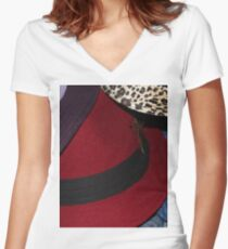 Hats Macro  Women's Fitted V-Neck T-Shirt