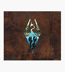 Skyrim Logo - Forest Scene Embossed in Brown Leather Photographic Print