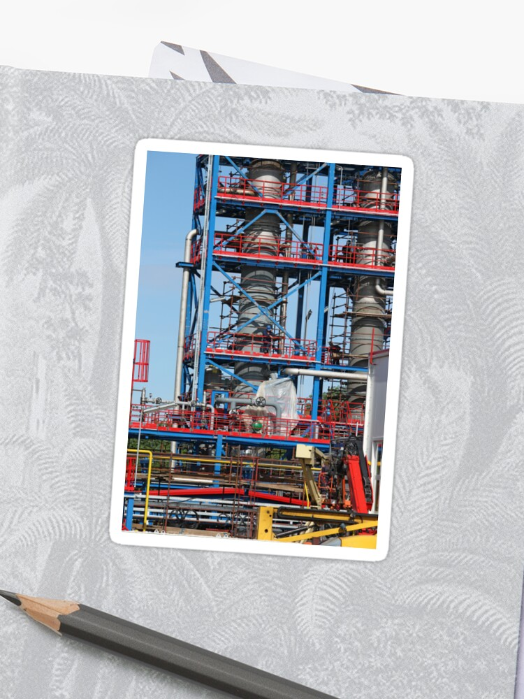 petrochemical plant construction site industry background | Sticker