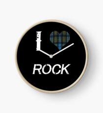 I love Rock for the Proud Scot heart Plaid Shirt Clock