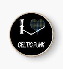 I love Celtic Punk for the Proud Scot heart Plaid Shirt Clock