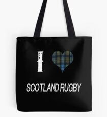 I love Scotland Rugby for the Proud Scot heart Plaid Shirt Tote Bag