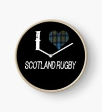 I love Scotland Rugby for the Proud Scot heart Plaid Shirt Clock